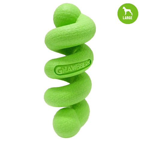 Gnawbbers Stretchy Coil Green Float Dog Toy
