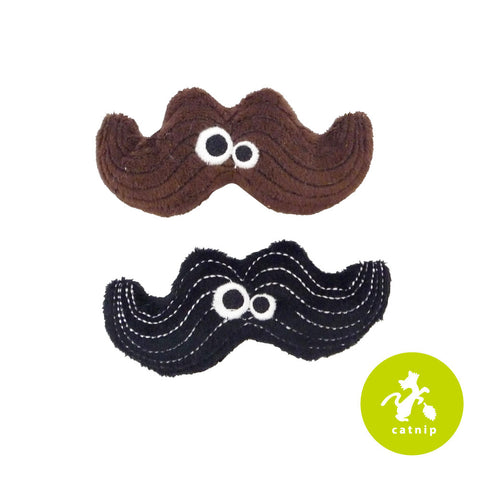 Mad Cat Meowstache Twin Pack Catnip Silvervine Plush Cat Toy