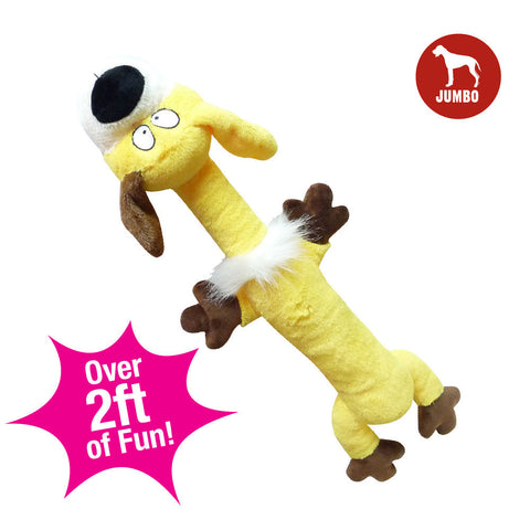 Zany Bunch Zqueaker Buddies Yellow Dog Plush Dog Toy