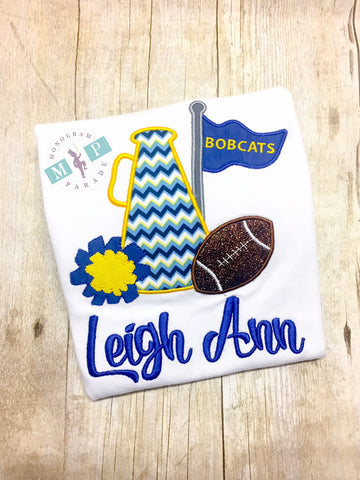 Blue and Yellow Cheerleader Megaphone Football Shirt or Bodysuit - Customize to your favorite team