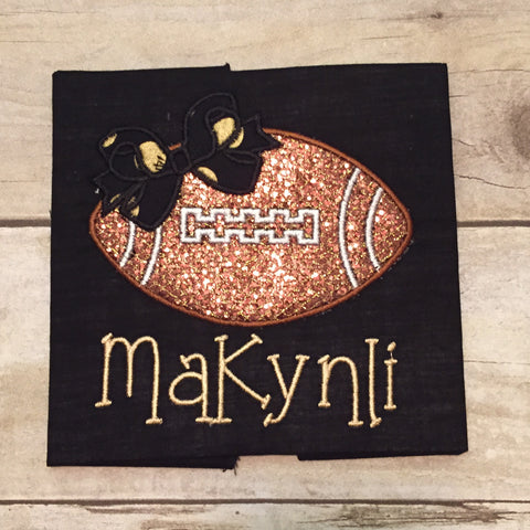 Black and Gold Glitter Football with Bow