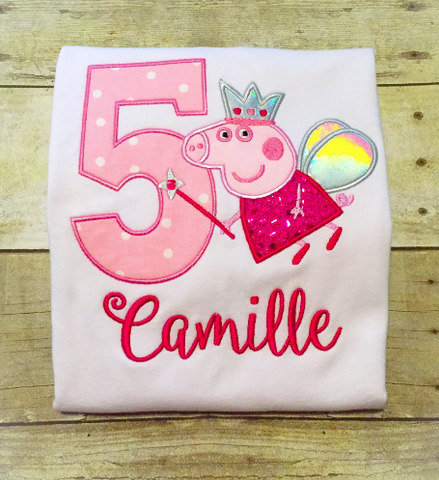 Peppa Pig Birthday Shirt - Any year available - Peppa Pig Fairy - Pig Birthday Shirt