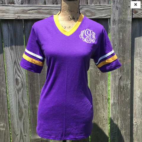 Youth & Tween Unisex Purple\Gold\White Monogrammed Short Sleeve Spirit Shirt-Jersey