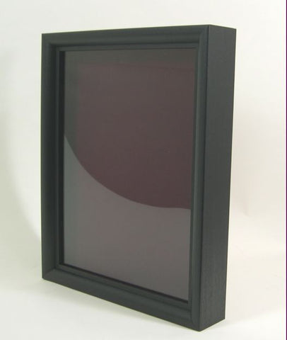 "SB2000ma 9x12 Black Wood Shadow Box, 1"" Deep; Maroon Lining"