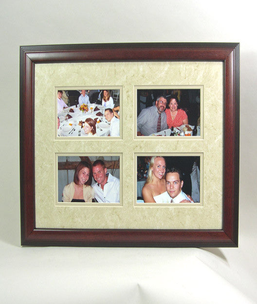 PH6315bmq Cherry Hardwood Frame with Beige Mat, Holds (4) 4x6 Photos