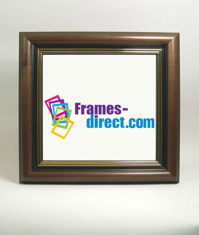 SQ9233 Square Walnut and Gold Hardwood Frame