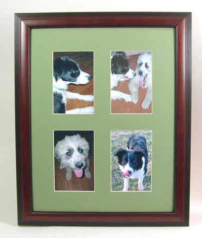 PH6315gnq Cherry Hardwood Frame with Green Mat, Holds (4) 4x6 Photos