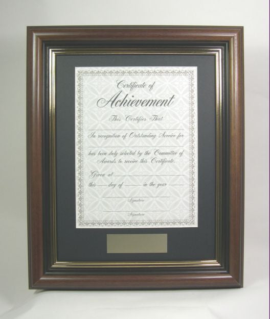 AWMP4957-1 11x14 Walnut Wood Award Frame, Fits 8.5x11 Certificate ...