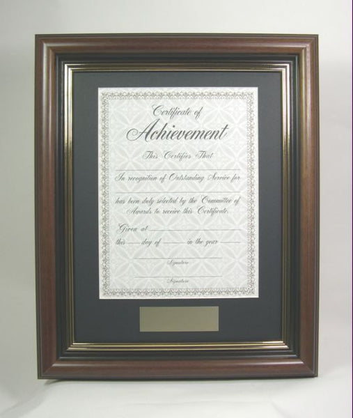 awmp4957 1 11x14 walnut wood award frame fits certificate frames. Black Bedroom Furniture Sets. Home Design Ideas