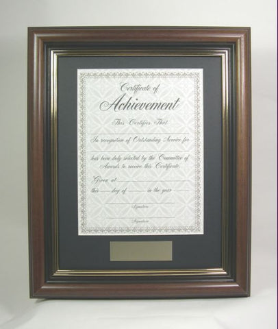 AWMP4957-1 11x14 Walnut Wood Award Frame, Fits 8.5x11 Certificate