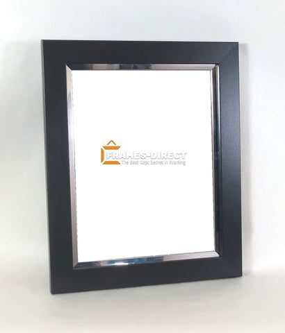 8.5x11 Matte Black & Silver Accent Wood Frame