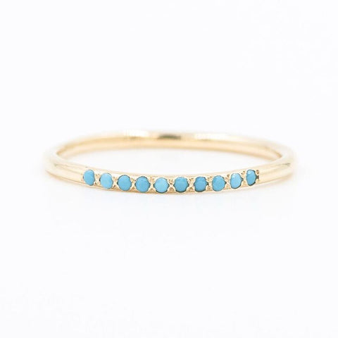 14k Turquoise Row Stacking Ring