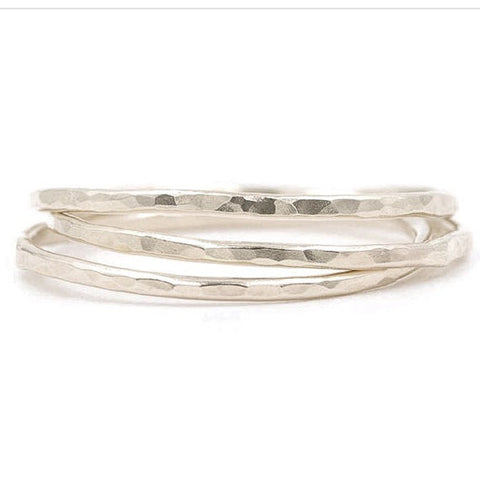 14k Skinny Hammered Stacking Ring