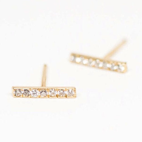 Diamond Linear 14k Studs