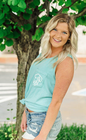Load image into Gallery viewer, Mint Green Striped Pocket Tank