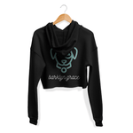 Black Cropped Fleece Hoodie