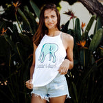 Beach Bum White High-Neck Tank