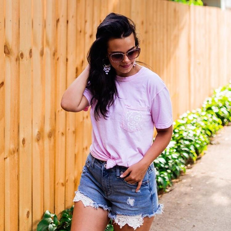 Baby Pink Hamsa Short Sleeve Pocket Tee