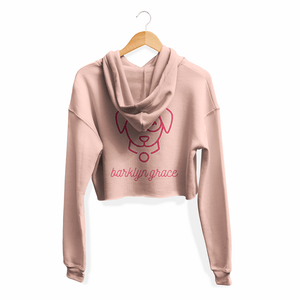 Peach Cropped Fleece Hoodie