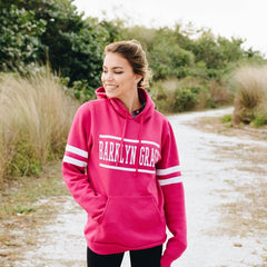 Pink Striped Fleece Varsity Sweatshirt