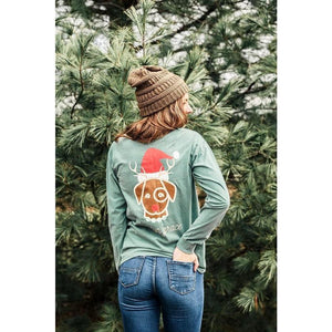 Holiday Reindeer Long Sleeve Pocket Tee