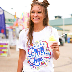 Puppy Love Graphic Tee - WHITE