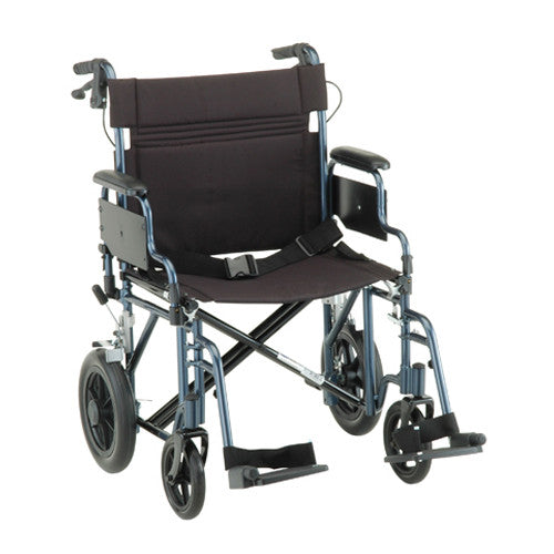 NOVA 332 Lightweight Transport Chair with Detachable Arms, Hand Brakes and 12