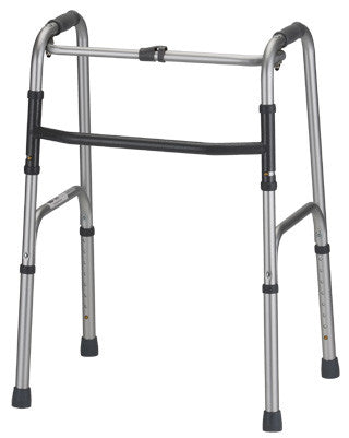 Nova 4070D Silver Adult Folding Walker with Single Button Release Adjustment Height 31″ - 38″
