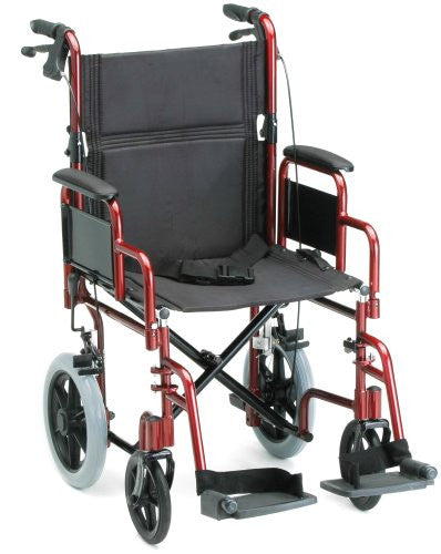 NOVA 352 Lightweight Transport Chair with Detachable Desk Arms, Hand Brakes and 12