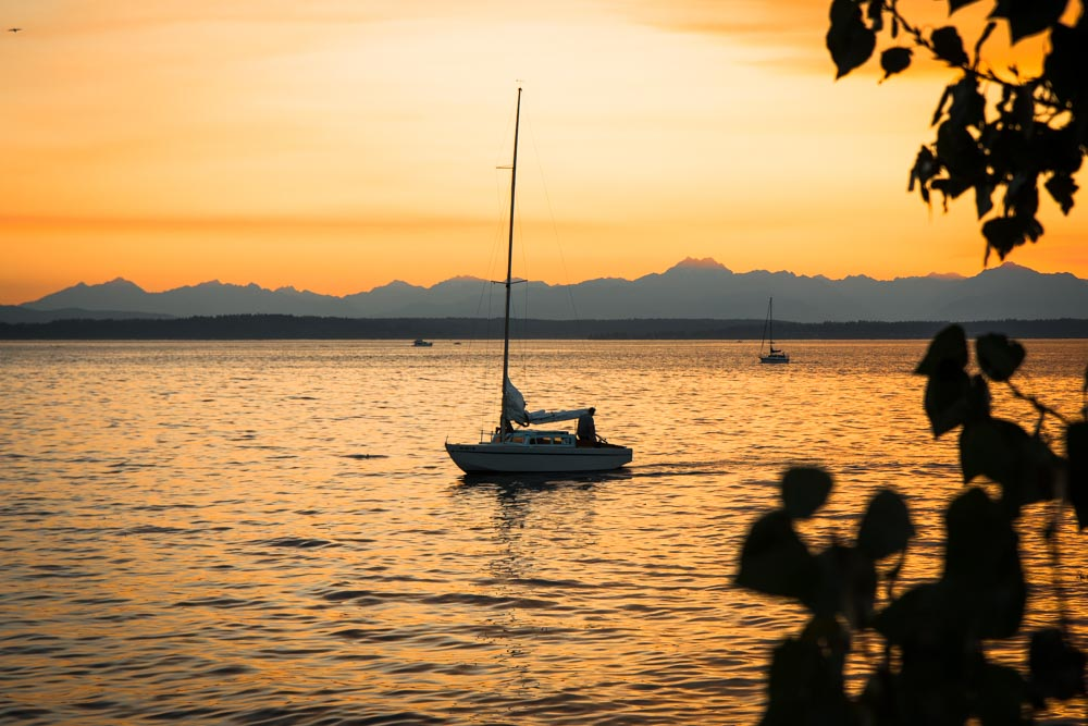 Seattle Sunset Sail Boat