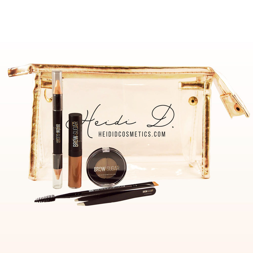Gold & Clear Makeup bag - www.heididcosmetics.com