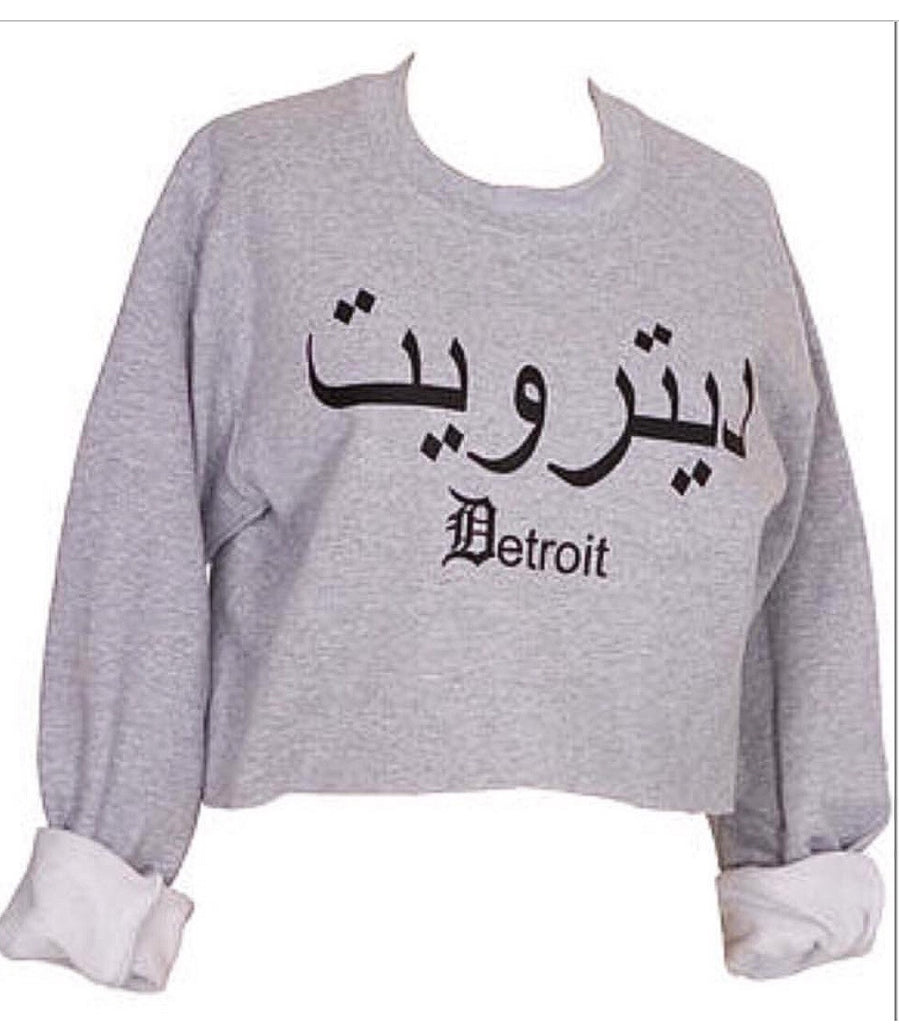 Detroit in Arabic grey crop sweater! - www.heididcosmetics.com