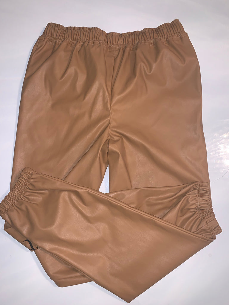 Faux leather nude joggers - www.heididcosmetics.com