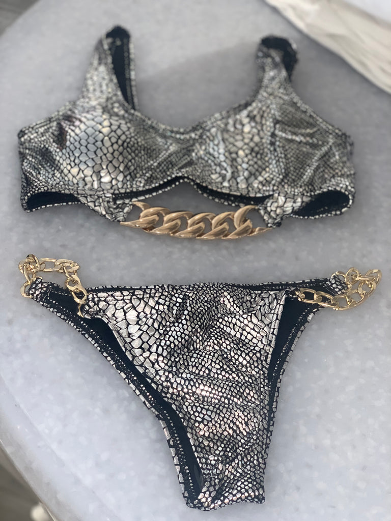 Silver and gold snakeskin bikini