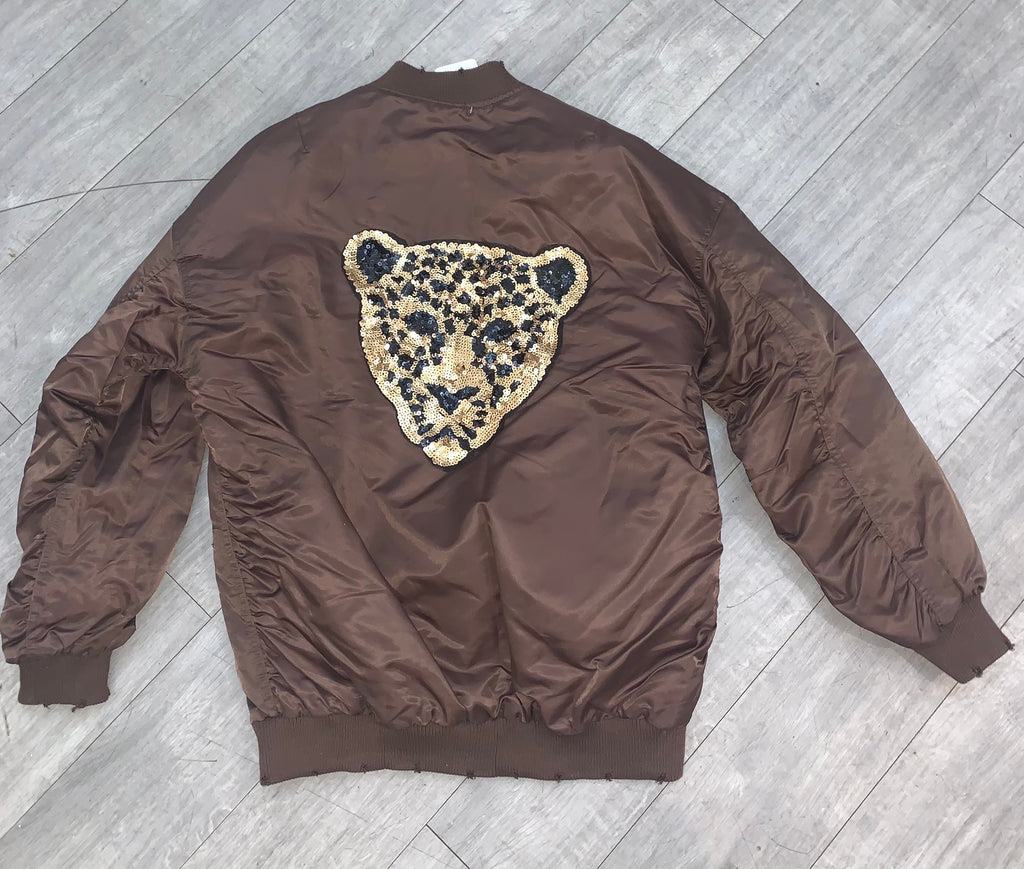 Brown oversized cougar jacket