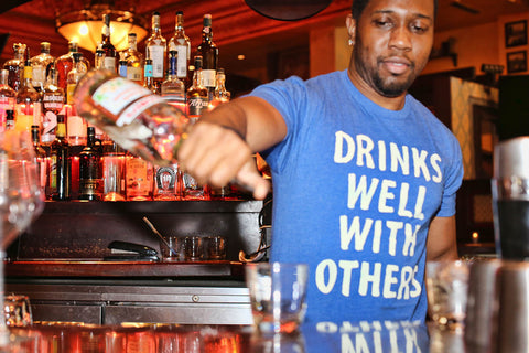 Drinks Well With Others - Pub Drinking Line T-Shirt