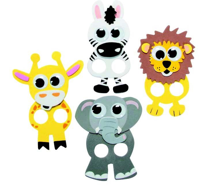 diy Safari Animal foam sticker Finger Puppets crafts