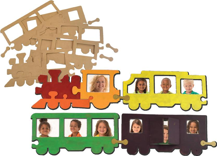 Wooden Train Picture Frames