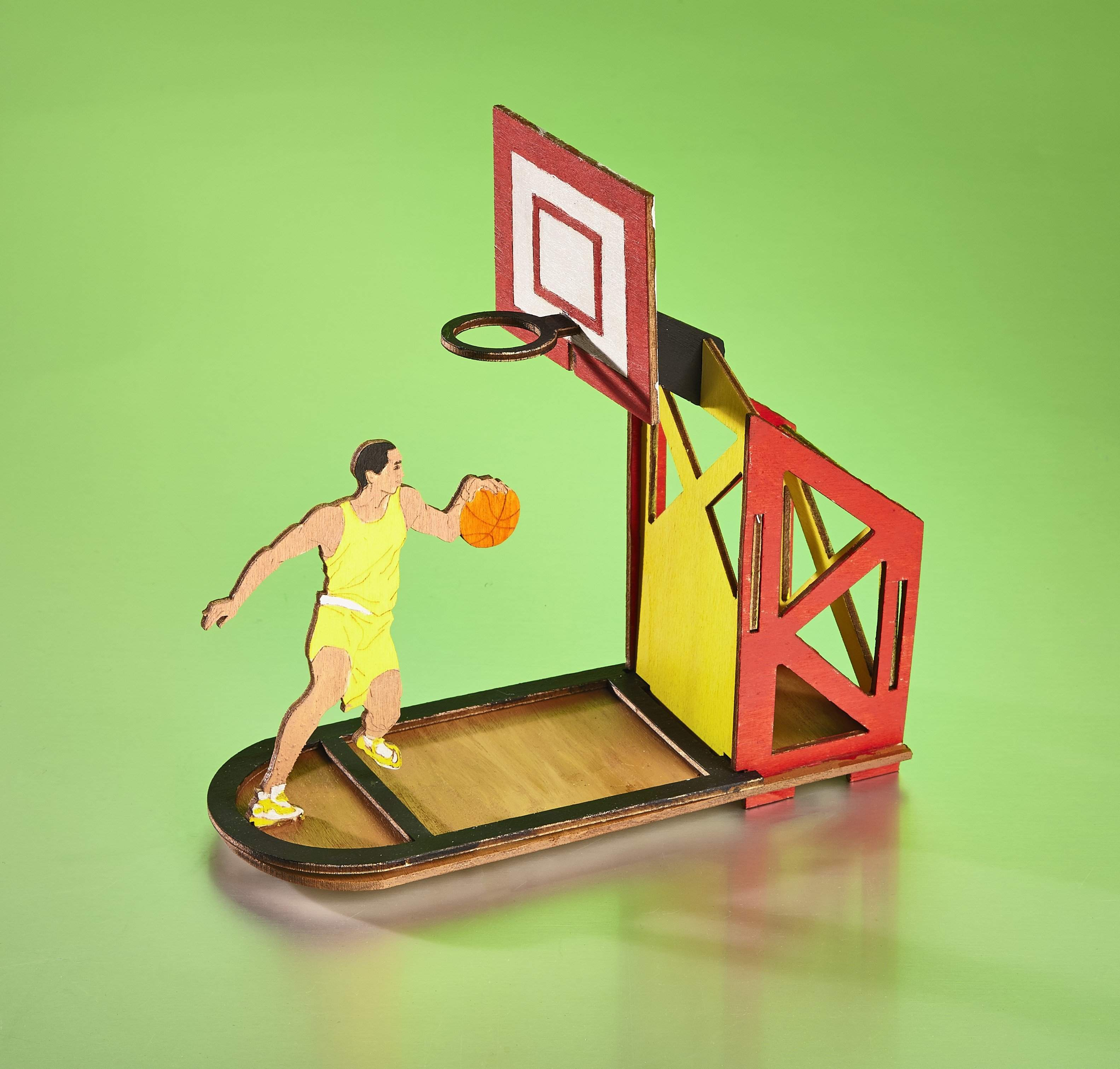Wooden Basketball Sports Desk Organizer