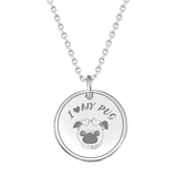 Beautiful Sterling Silver Double Sided Pug Pendant