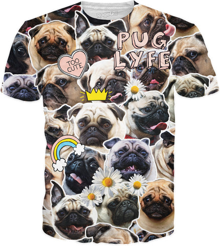 "Unisex All Over Print ""Pug-Parazzi"" T-Shirt"