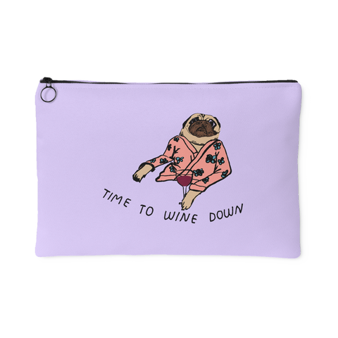 """Time To Wine Down"" Lavender Accessory an Make Up Pouch"
