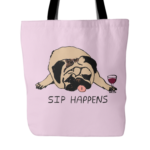 "Durable ""Sip Happens"" Tote Bag"
