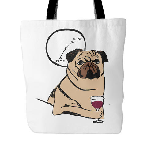 "Cute ""Wine Time!"" Pug Tote Bag"