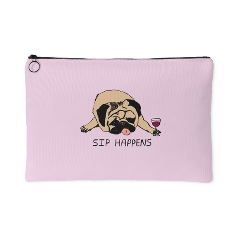 """Sip Happens"" Pink Accessories and Make Up Pouch"