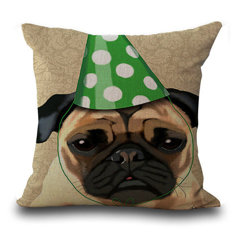 Birthday Pug Decorative Pillowcase