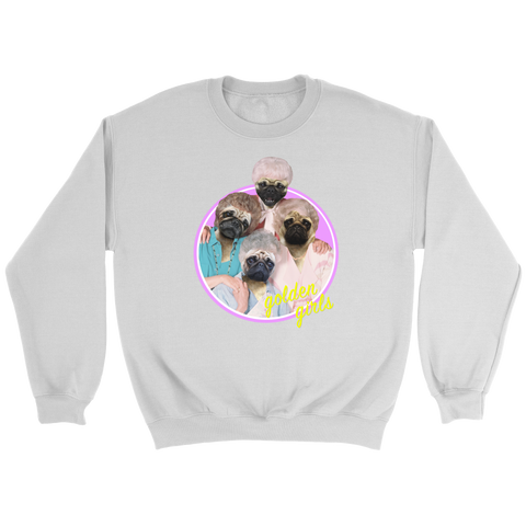 "Unisex ""Golden Pugs"" Crew Neck and Hoodie"