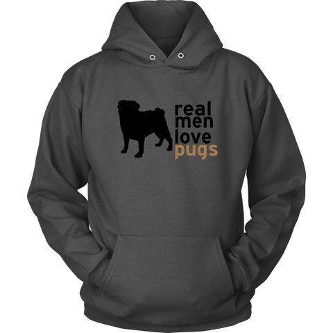 "Men's ""Real Men Love Pugs"" Hoodie"
