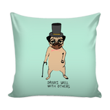 "Decorative ""Drinks Well With Others"" Pug Pillow Case"