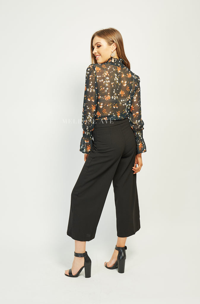 Zea Top | Black Floral
